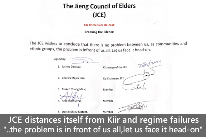 """JCE distances itself from Kiir, points out """"leadership failure"""" as the root cause of conflict"""